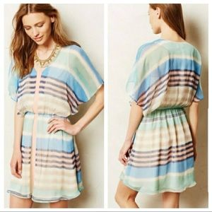Anthro Meadow Rue Decatur Striped Dress Large EUC